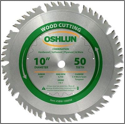 "10"" 50T Combo Carbide Tip Wood Cutting Saw Blade - JABETC"
