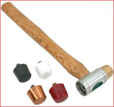 Small Interchangeable Head Face Soft Brass Copper Plastic Rubber Hammer Tool - tool