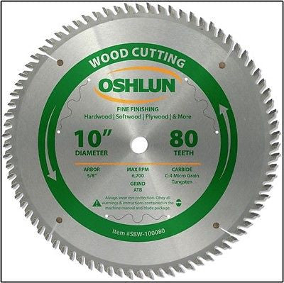 "10"" 80T Fine Cut Carbide Tip Wood Cutting Miter Table Chop Saw Blade - JABETC"
