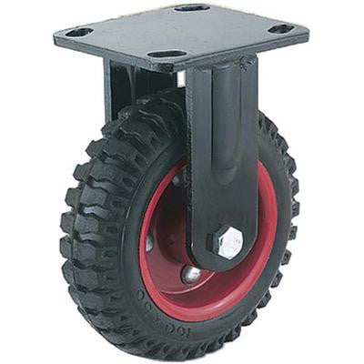 "8"" Knobby Fixed Wheel Straight Outdoor Rough Surface Rubber Tire Caster Castor - JABETC"