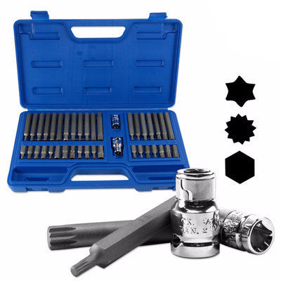 Star Driver Bit Socket Spline Drive Hex Torx Tool Set for Power Drill or Wrench - tool