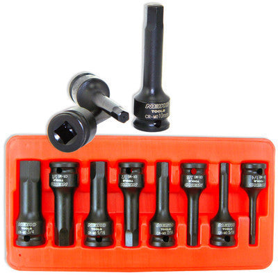"1/2"" Drive SAE Standard Impact Hex Key Allen Wrench Bit Set - tool"