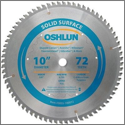 "10"" 72T Carbide Tip Corian Solid Surface Saw Blade - JABETC"