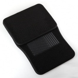 4 Piece Piece Universal Black Carpeted Floor Mats for Car Vehicle Carpet Rubber Set - tool