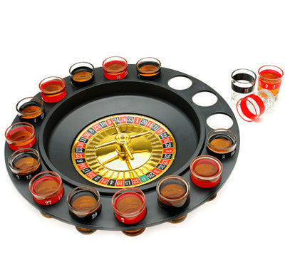 "12"" Drinking Roulette Wheel Game Kit Roulete Spinning with Shot Glass Set - JABETC"