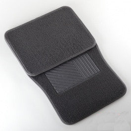 4 Piece Piece Universal Dark Grey Charcoal Gray Carpeted Floor Mats for Car Vehicle - tool