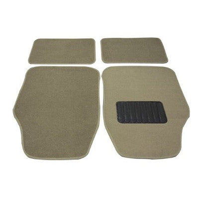 4 Piece Piece Tan Light Brown Carpeted Floor Mats for Car Vehicle Carpet Rubber Set - JABETC