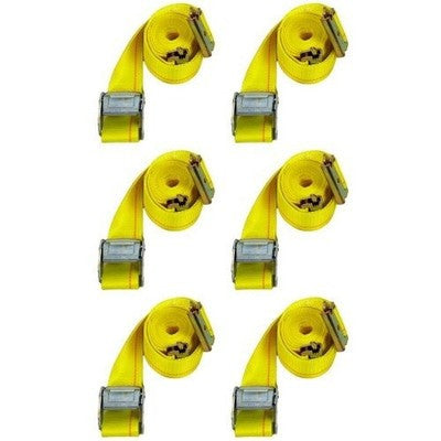 6 Pack 12Ft Cam Lock Truck Web Cargo Tie Hold Down E Track Strap Trailer Etrack - JABETC