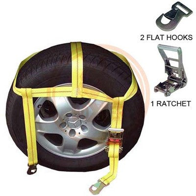 Over The Tire Ratcheting Web Auto Car Vehicle Ratchet Tie Hold Down Strap Set - JABETC