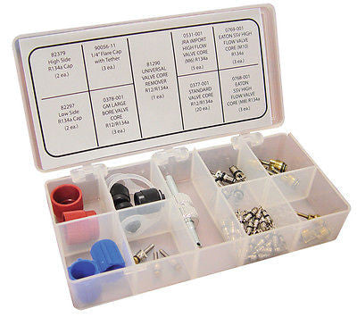 Air Conditioning Replacement Valve Core & Cap Assortment Kit - JABETC