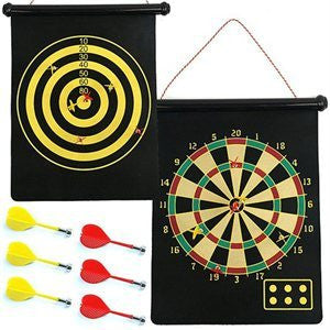 Wall Mount Hanging Hang Roll Up Mounted Magnetic Dart Board Game Set - JABETC
