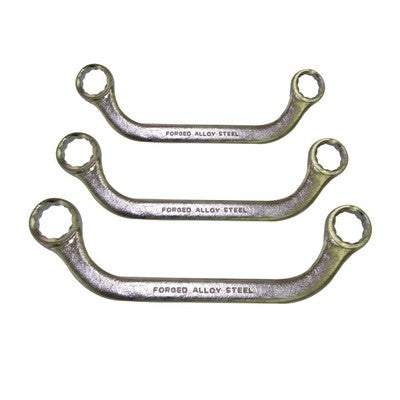 3 Piece U Shaped Box End Type Wrench Tool Set SAE Sized Angle Angled Bent - JABETC