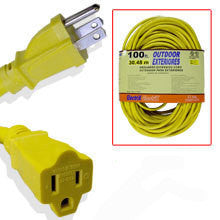 100 Foot Yellow 12 Gauge Wire 12-3 Power Cord Electric Electrical Extension - JABETC
