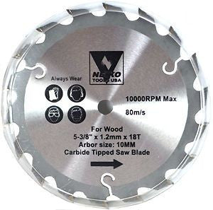 "5 3/8"" Carbide Tip Tipped Circular Saw Blade for Saw Wood Cutting 18 Tooth - tool"