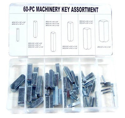 60 Piece Self Machinery Motor Arbor Steel Metal Key Way Keyway Assortment Kit - tool