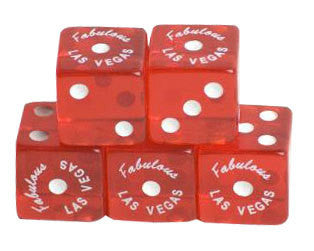 100 Pack of Fabulous Las Vegas Clear Red Dice for Craps - JABETC