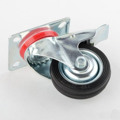 "3"" Rubber Wheel Swivel Rotating Caster Wheel with Locking Brake Castor - JABETC"
