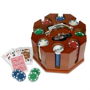 Deluxe 200 Piece Revolving Round Professonal Poker Chip Tray Rack Game Set Kit - JABETC