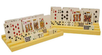2 Piece Plastic Playing Card and Domino Holder Rack Holding Game Display Stand - JABETC