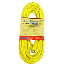 50' Foot Yellow 12 Gauge Wire 12-3 Power Cord Electric Electrical Extension - tool