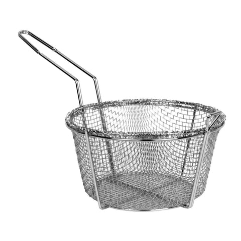 "8"" Round Metal Fry Frying Basket - tool"