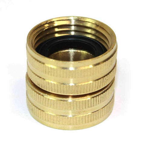 "Brass 3/4"" GHT Female x 3/4"" GHT Female Water Hose Swivel Fitting Connector"