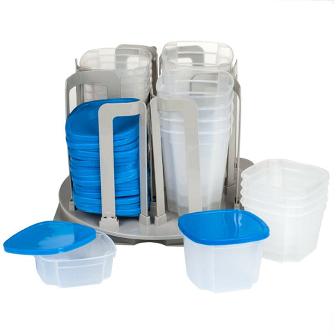 49 Piece Revolving Spinning Kitchen Food Storage Container System Organizer Bowls
