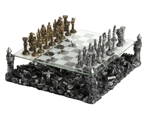 Medieval Knight Chess Board Set Castle Platform Pewter Metal