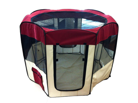 Red Portable Folding Fold Up Pet Dog Animal House Play Pen - tool