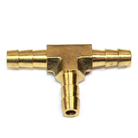 "1/4"" Barbed Brass T Tee Hose Connector - JABETC.COM"