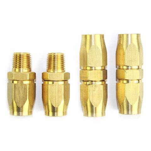 "3/8"" HU Tubing Hose Reusable End Brass Compression Fitting Kit"