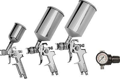 4 Piece HVLP Air Powered Gravity Feed Fed and Pot Spray Gun Paint Sprayer Set - JABETC