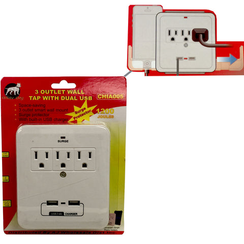 Outlet Wall Plug Tap Adapter with Dual USB Ports Surge Protector Adaptor