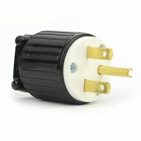 Double Straight Electrical Plug 3 Wire, 15 Amps, 250V, NEMA 6-15P