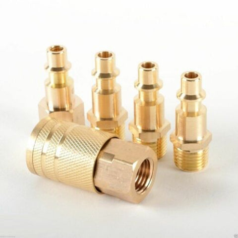 5pc Solid Brass Quick Coupler Set Air Hose Connector Fittings 1/4 NPT Tools - tool