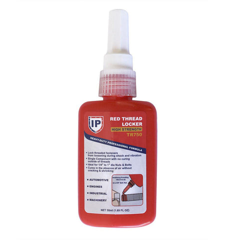 Bottle of Industrial Red Threadlocker Fluid Thread Locking Seal - tool