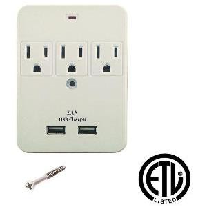 3 Outlet Plug Adapter With USB Charging Ports - tool