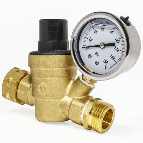3/4 Inch Water Hose Fitting RV Pressure Regulator Gauge Control