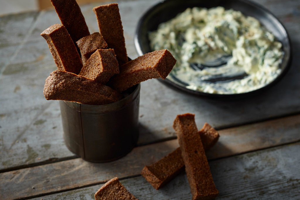 Creamy Artichoke Dip with Uprising Bread Soldiers