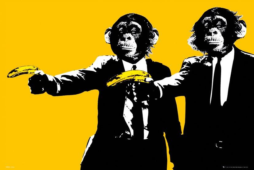 Monkeys Bananas Stor Plakat