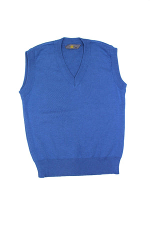 Blue Sleeveless V Neck Jumper