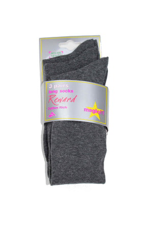 Grey Knee Length Socks (Pack of 3)