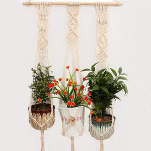 Triple suspension macramé pour plantes