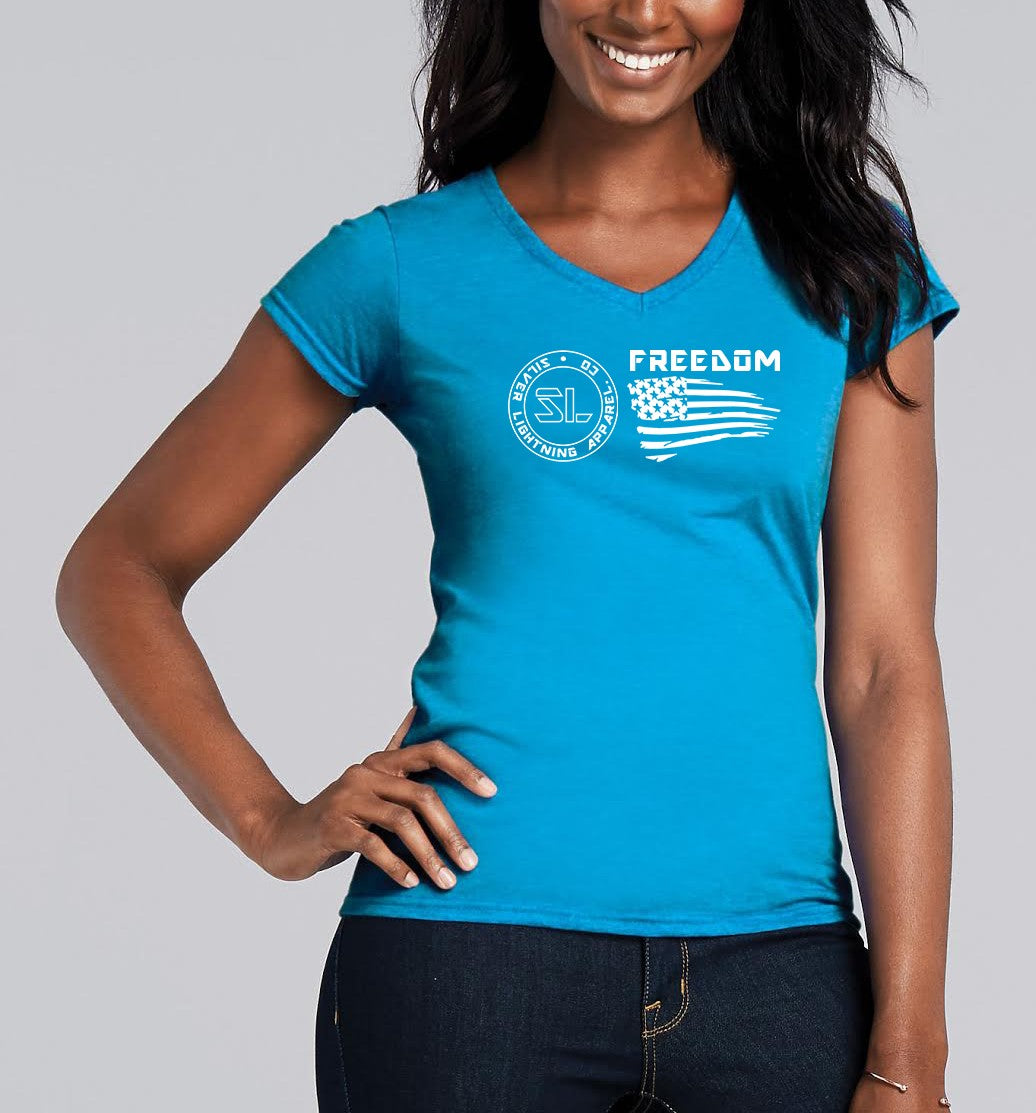 Silver Lightning Apparel Softstyle Ladies V Neck Tee