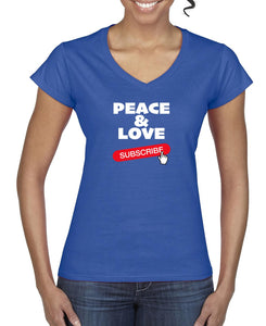 Silver Lightning Apparel Softstyle Ladies Peace and Love V Neck Tee