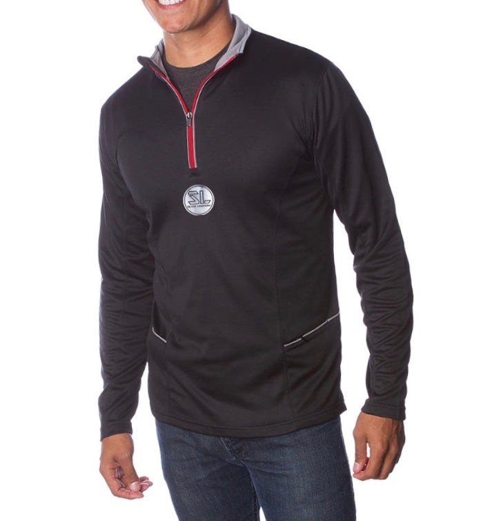 Silver Lightning Adult Water Resistant Lightweight Poly-Tech 1/4 Zip Cadet Fleece Center Logo