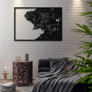 Middle Earth - Metal Map, Metal Wall Art, Metal World Map, Northshire, Wall Sign