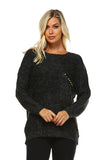 Women's Loose Knit Sweater with Stud Detail