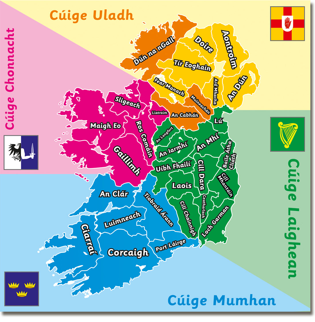 Images Of Map Of Ireland.Map Of Ireland Irish Version