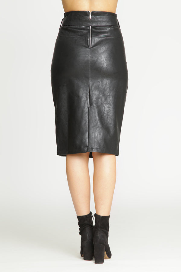 Faux Leather High-Waist Skirt with front vent and belt